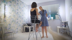 The image is almost ready, put the finishing touches to the beauty studio Stock Footage