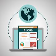 Blog design. Social media concept. online illustration, vector Stock Illustration