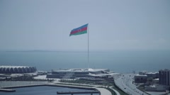 Azerbaijan Flag Square In Baku Stock Footage
