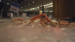Fresh seafood buffet at hotel with shrimp and oysters. - stock footage
