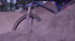 Extreme Sport Mountain Bike BMX Trick - shallow depth of field corner Stock Footage
