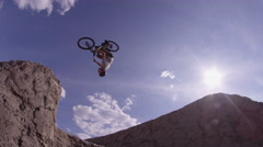 Extreme Bike Rider doing Back Flip - Dirt Jumping BMX Mountain Bike Stock Footage