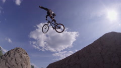 Extreme Tail Whip on BMX Mountain Bike Sports Dirt Jump - stock footage