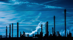 Pollution factory industry climate change energy smoke power environment petrol Stock Footage