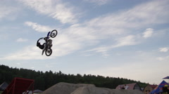 FMX one handed back flip - motocross Stock Footage