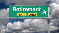 Road to Retirement Exit Sign with Time Lapse Clouds Stock Footage