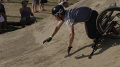 Mountain bike crash - extreme sports - injury on dirt jumps Stock Footage