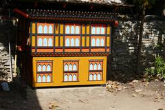 The design of Bhutan architecture in the garden Stock Photos