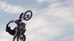 Extreme Freestyle Motocross Jumping - back flip one hander Stock Footage
