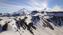 Aerial of Artist Point Parking Lot with Mt Baker in the Background Stock Footage