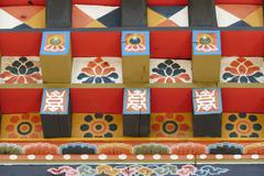 The painting on Bhutan architecture Stock Photos