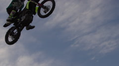 Extreme Freestyle Motocross Jumping silhouette of rider Stock Footage