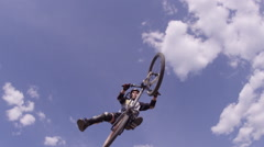 Slow motion tail whip on mountain bike BMX - stock footage