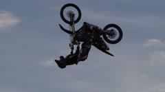 Going upside down on a FMX bike - backflip motocross Stock Footage