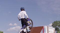 Action Sport Freestyle Motocross - FMX slow motion male athlete Stock Footage