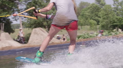 Wakeboard Board Slides on winch system - summer sports Stock Footage