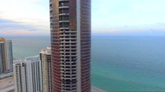 Aerial orbit Porsche Design Tower Stock Footage