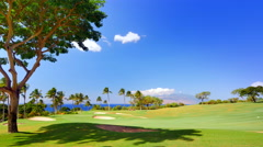 4K Vibrant Blue Sky and Green Grass Landscape, Tropical Golf Course  in Paradise Stock Footage