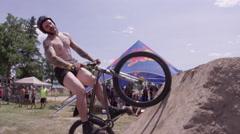 Extreme Sport BMX Mountain Biking Dirt Jumping Trick - stock footage