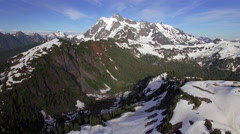 Breathtaking Aerial Flyback of Mt Shuksan in the Cascade Mountain Range Stock Footage