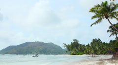 Tropical beach of Anse Volbert, Seychelles Stock Footage
