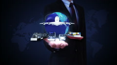 Businessman open palms, Global Network, airplane, train,ship, car transportation Stock Footage