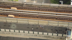 BTS sky train transport on rail in Bangkok, Thailand. Stock Footage