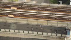 BTS sky train transport on rail in Bangkok, Thailand. Stock Footage