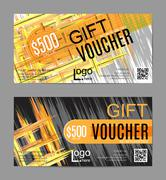 Vector gift voucher, card template - stock illustration
