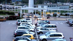 Parking lot at Airport San Marco. Cars entering parking lot through gates. Stock Footage