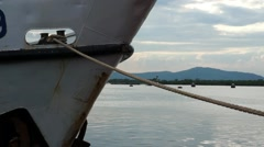 Tied down by Mooring Rope. Ship Bow. Stock Footage