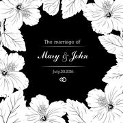 Congratulation or invitation card template with hibiscus flowers. Vector Stock Illustration