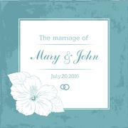 Marriage design template with custom names in square frame  flowers. Vector Stock Illustration