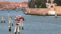 Water bus crossing the lagoon of Venice in Italy Stock Footage