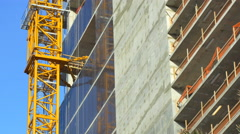 Crane attached to a building Stock Footage