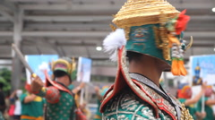 Thai traditional Khon mask performing Stock Footage