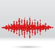 Sound waveform made of scattered balls Stock Illustration