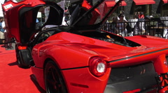 A Red Ferrari LaFerrari on display at Yorkville Car Show Stock Footage