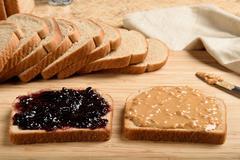 Peanut butter jelly sandwich Stock Photos