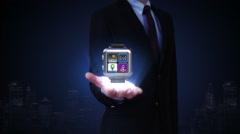 Businessman open palms, Use smart watch, Access Cloud computing service. Stock Footage