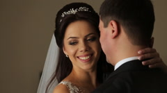 Beautiful young couple bride and groom in a wedding dress Stock Footage