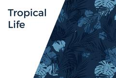 Blue indigo summer tropical hawaiian background with palm tree leaves and exotic - stock illustration