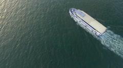 Steamboat with Izmir Turkey Coastline Stock Footage