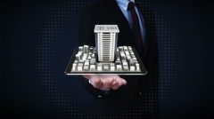Businessman open palms, real estate application, constructed building on mobile, Stock Footage