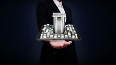 Businesswoman open palms, real estate, constructed building on mobile Stock Footage