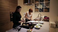 Women are Cooking Steamed Vegetables Stock Footage