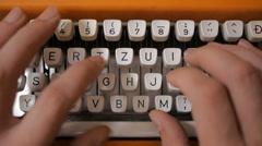 Typing on old retro typewriter. Stock Footage