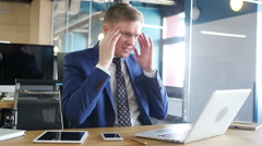 Businessman holding online meeting  and gets bad news  , Frustration Stock Footage