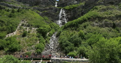 Bridal Veil Falls tourism water fall mountain nature DCI 4K Stock Footage