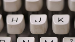 Male finger typing letter J on old, retro typewriter. Stock Footage